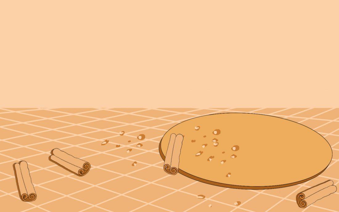 Rysunek przedstawiający pusty talerz leżący na stole. Na talerzu i stole rozsypane są okruchy i pałeczki cynamonu.