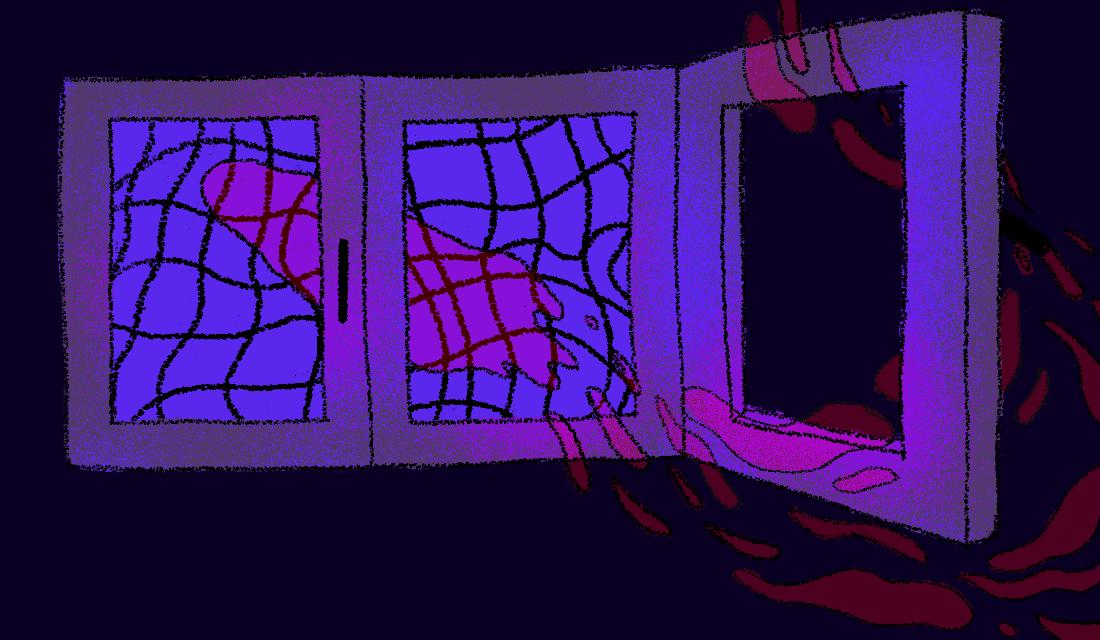 Ilustracja przedstawia ducha, który właśnie wyleciał przez okno zostawiając za sobą czerwone strzępki