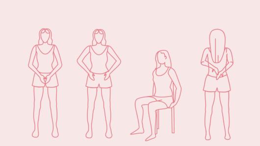 Obrazek przedstawia 4 schematyczne postaci kobiety, które pomagają w zlokalizowaniu kości miednicy: pierwsza trzyma ręce na spojeniu łonowym, druga na kosciach biodrowych, trzecia siedzi z dłońmi pod pośladkami dotykająć guzów kulszowych, a czwarta stoi tyłem dotykając kości krzyżowej