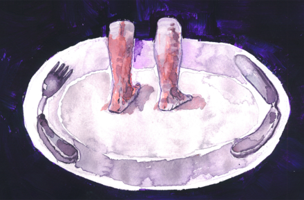 Ilustracja przedstawia nogi na talerzu