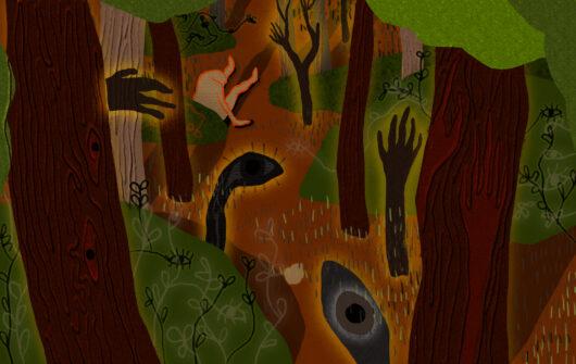 Surrealistyczna ilustracja z motywami roślinnymi i częściami ciała (ręka, oko), całość przypomina las