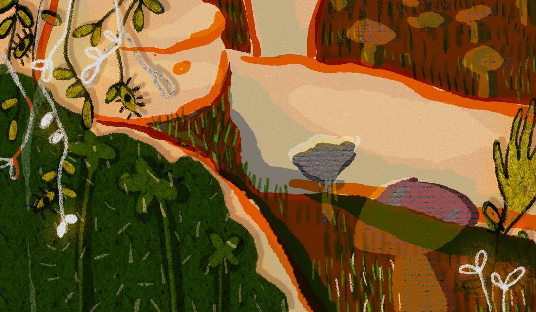 Surrealistyczna ilustracja z motwami roślinnymi i grzybami