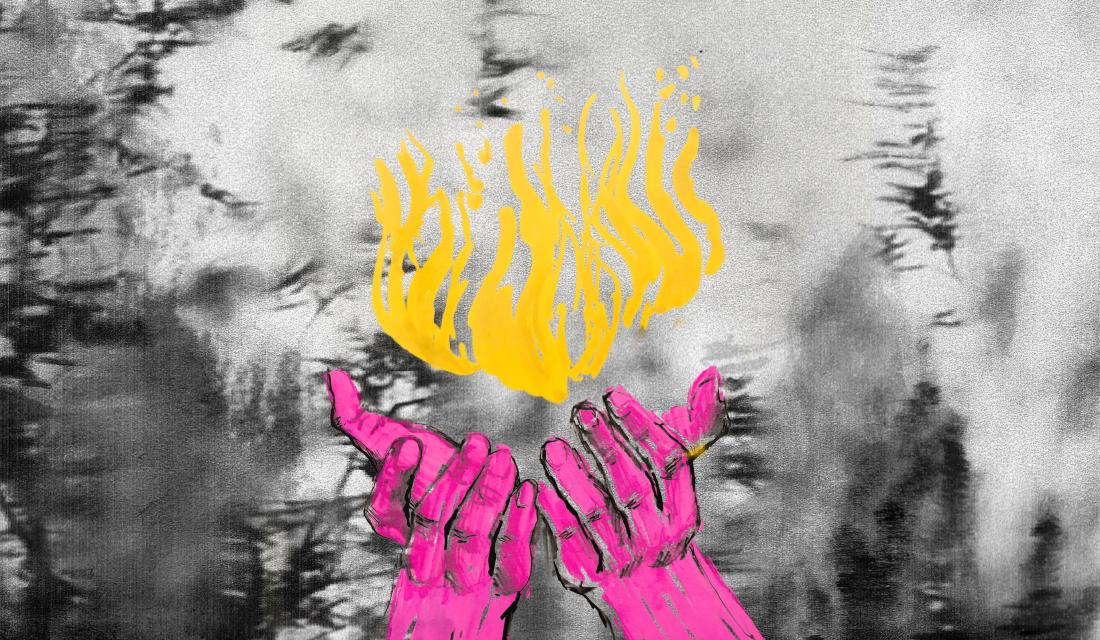 Ilustracja przedstawia różowe dłonie obejmujące delikatnie palący się nad nimi żółty płomień.