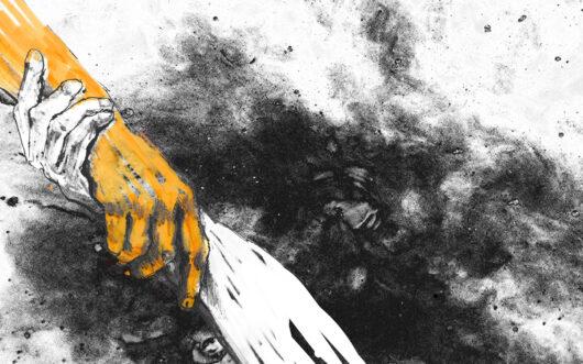 Ilustraca przedstawia pomarańczową i białą dłoń, które trzymają się wzajemnie za nadgarstki