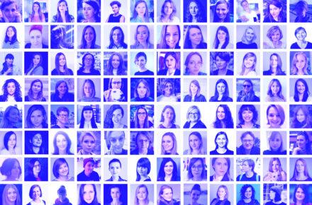 Kolaż ponad 100 zdjęć kobiet w różny wieku - mentorek programu Dare IT