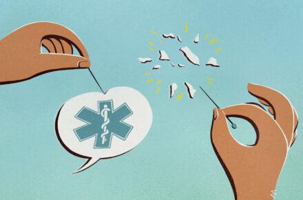 Ilustracja przedstawia dłonie trzymające igły. Jedna dłoń przebija igłą dymek wypowiedzi, w którym znajduje się symbol ochrony zdrowia