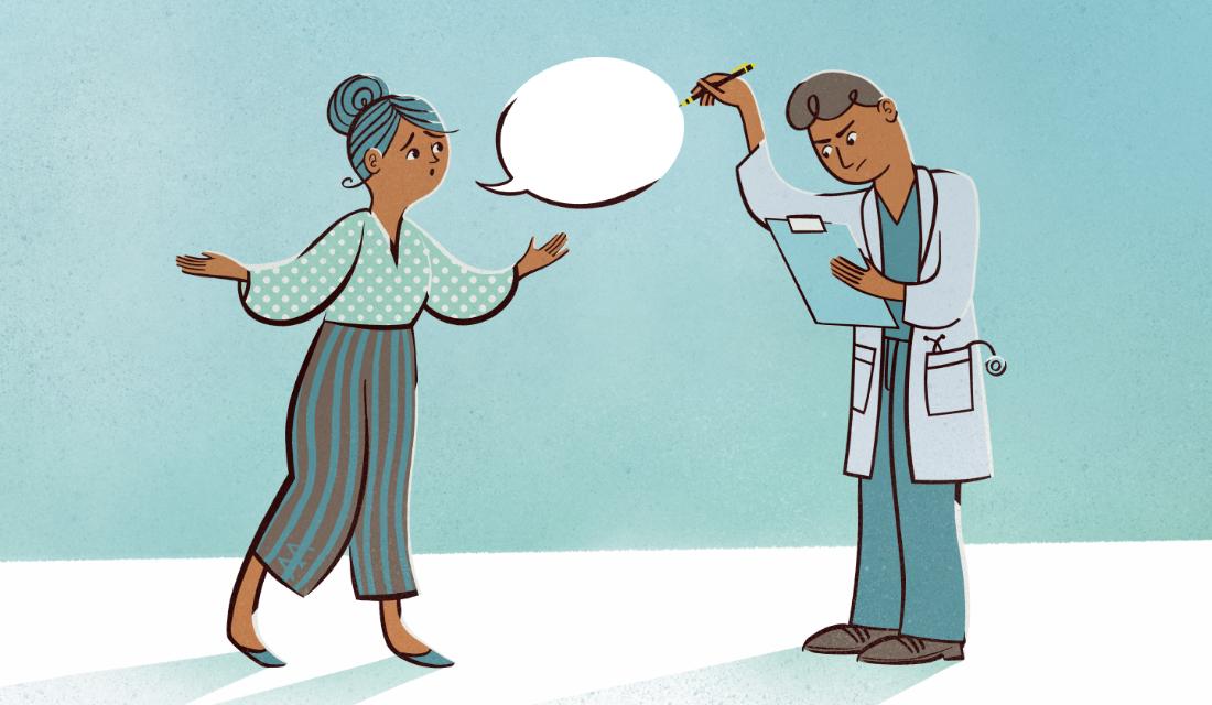 Ilustracja przedstawia kobietę, która z zatroskanym wzrokiem mówi coś oraz lekarza, który nie patrzy na nią, tylko w kartę pacjenta i długopisem przebija dymek jej wypowiedzi