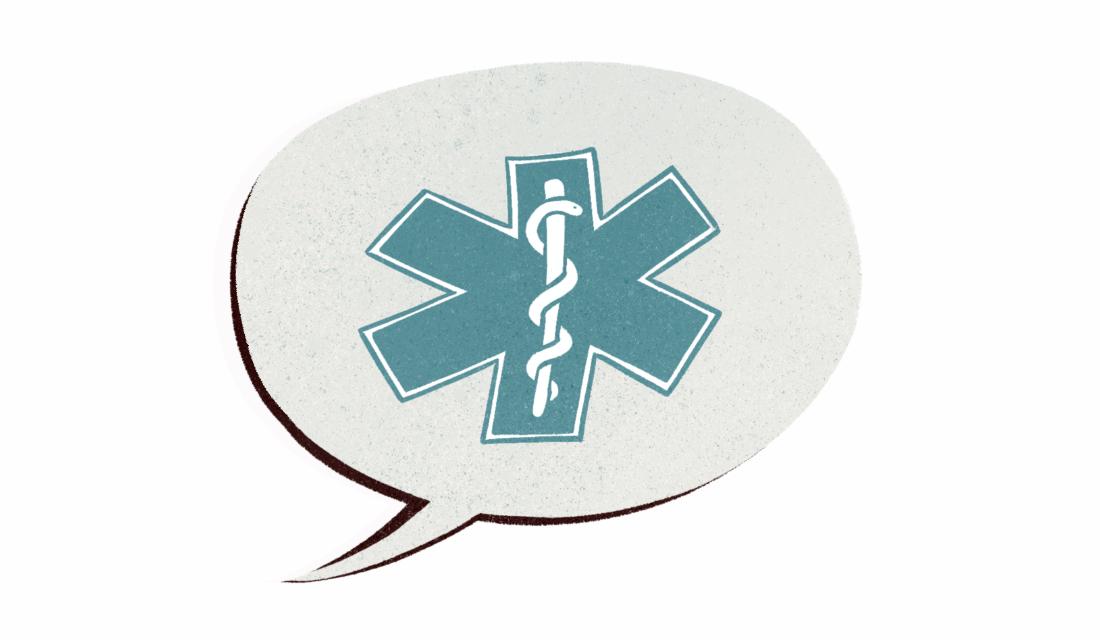 Ilustracja przedstawia dymek wypowiedzi, w którym umieszczony jest symbol ochrony zdrowia